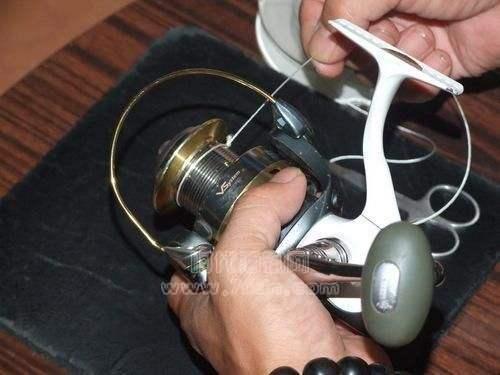 如图抽紧钓线,使活套紧勒在纺车轮的线杯上。