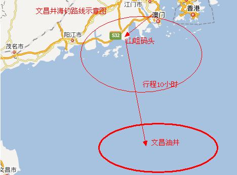 文昌井海钓路线示意图